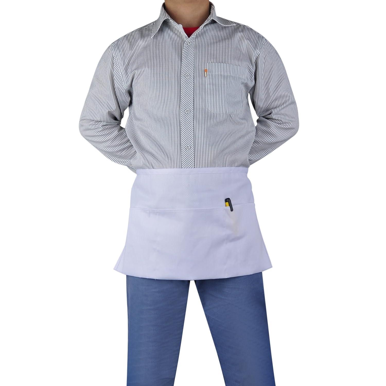 (Price/2 PCS) Opromo 3-Pocket Polyester Cotton Waist Apron, 22.5' W x 12' H-White 22.5 W x 12 H-White 6APN-LE0111_WHITE