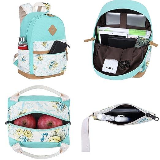 Amazon.com   BLUBOON Canvas School Backpack Set 3 Pieces Lightweight Teen  Girls Bookbags Insulated Lunch Bag Pencil Case (Water Green-flower)   Kids   ... 63cf0319d2
