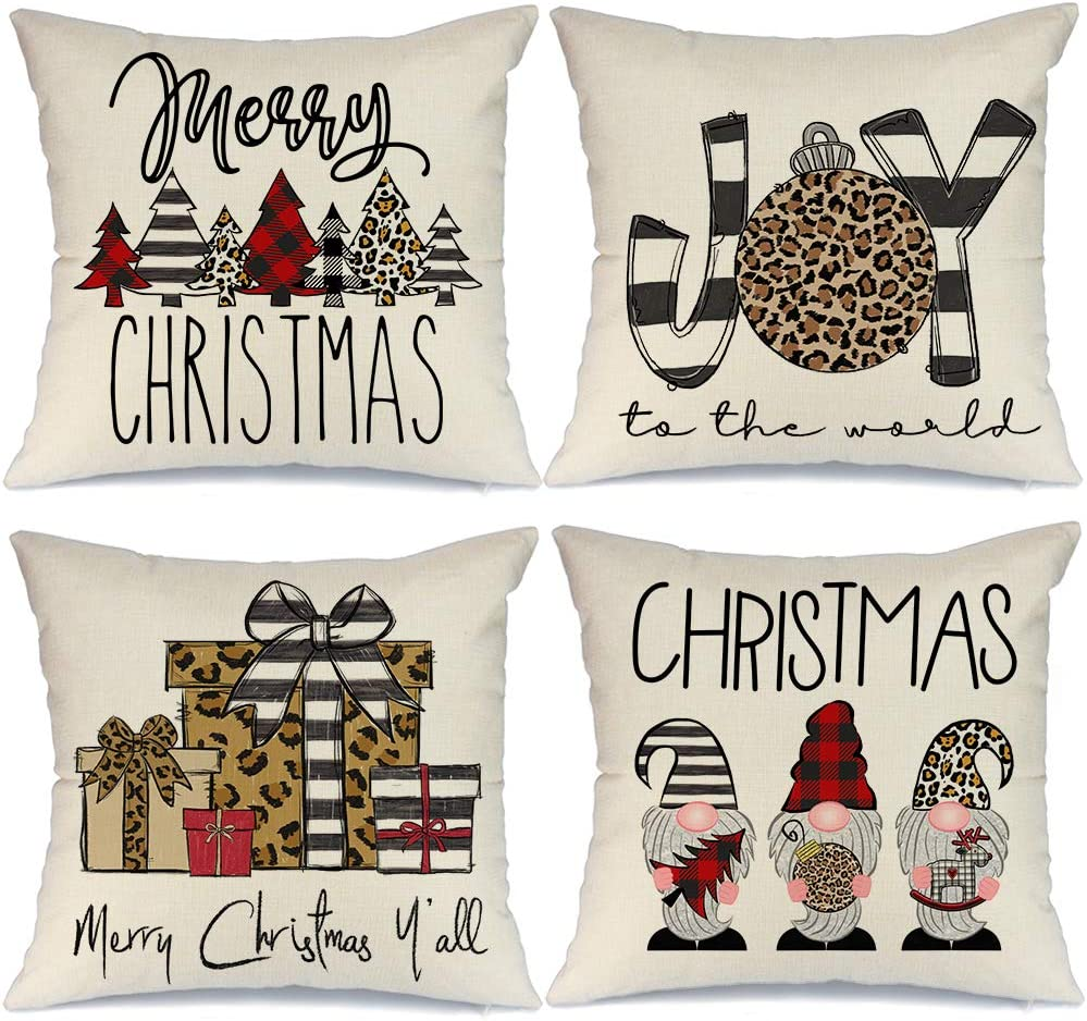AENEY Christmas Pillow Covers 16x16 Set of 4, Buffalo Plaid Stripe Tree Gnome Rustic Winter Holiday Throw Pillows Farmhouse Christmas Decor for Home, Xmas Decorations Cushion Cases for Couch A300-16