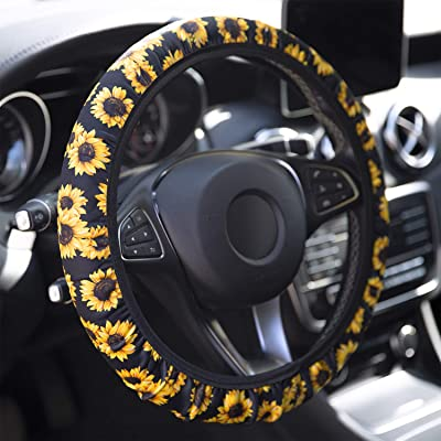 YR Universal Steering Wheel Covers, Cute Car Steering Wheel Cover for Women and Girls, Car Accessories for Women, Sunflower: Automotive