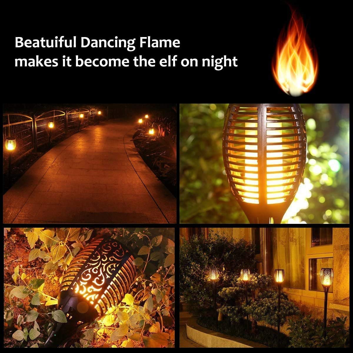 4 Pack Lebote Tec Solar Torch Lights,Solar Flame Lights Outdoor Flickering Flames Torches Lights Waterproof 96 LED Dancing Flames Landscape Decoration Lighting Solar Spotlights for Garden Yard Patio