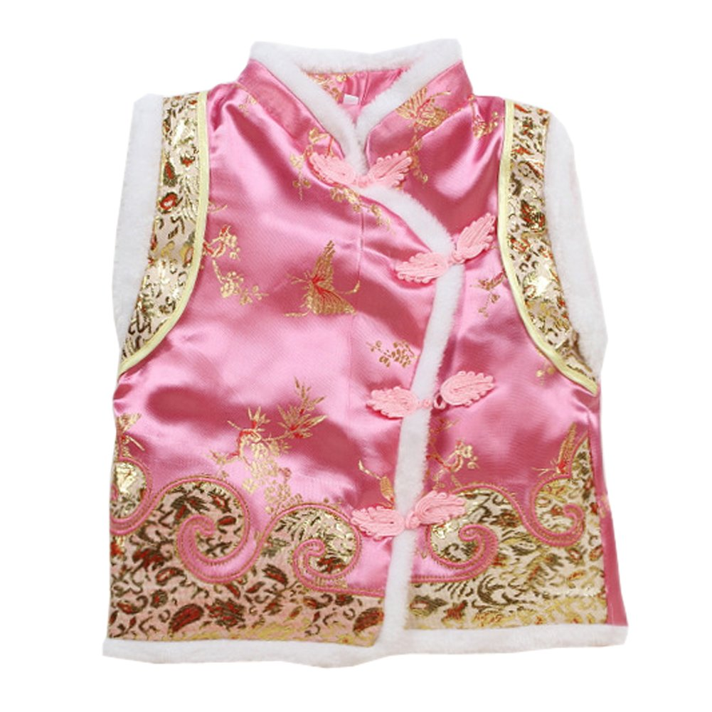 Only Faith Little Girls Chinese Traditional Tang Suit Outdoor Padded Vest Sleeveless Jacket (Pink, M)