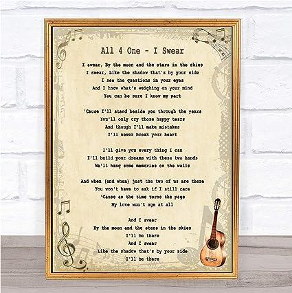 Amazon com: I Swear Song Lyric Quote Print: Posters & Prints