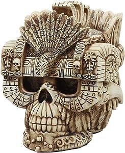 Ebros Aztec Empire Emperor Montezuma Skull Statue Tenochtitlan King Moctezuma I Halloween Skeleton Cranium Head Figurine