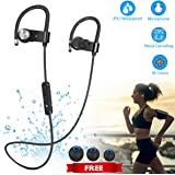 Bluetooth Headphones IPX7 Waterproof Wireless Earbuds In-Ear with Microphone Noise Canceling Gym Headphones for Running Stereo Earphones Sweatproof Sports Headset, 8-10 Hours Long Play Time (Black)