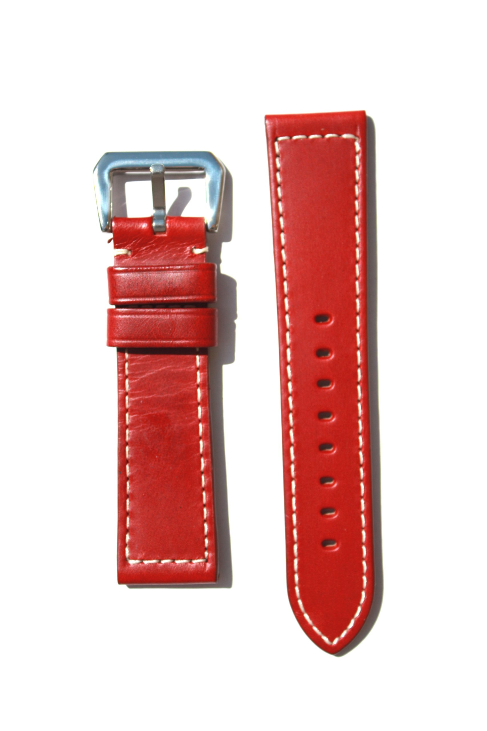 PANERAI Style 24mm Red Watchband with Heavy Original Design S/S Buckle