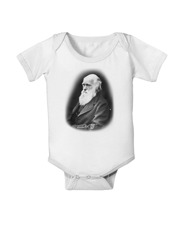 TooLoud Charles Darwin Black and White Baby Romper Bodysuit