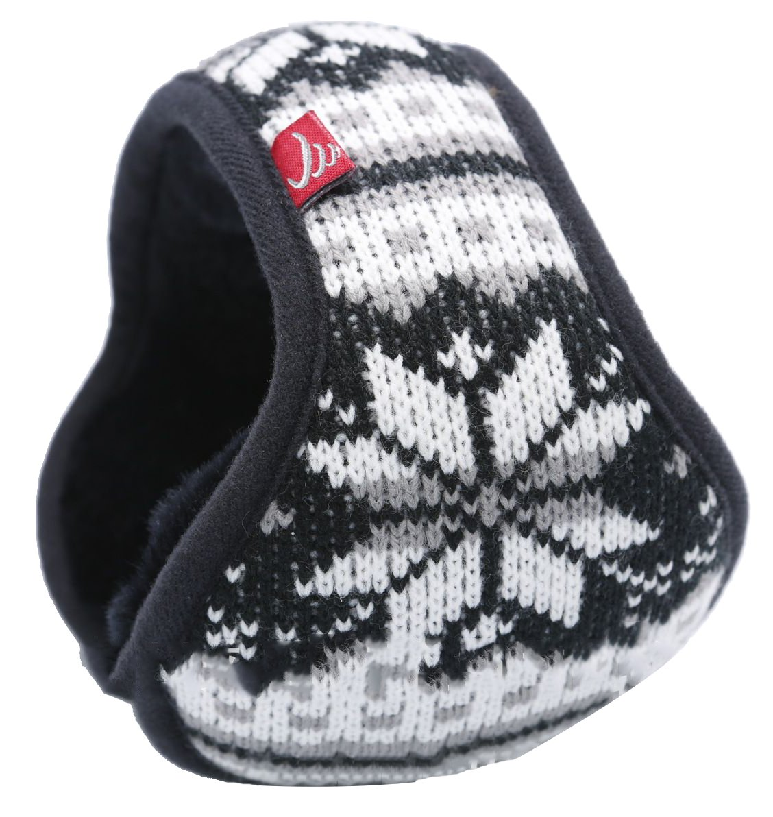 Ilishop Unisex Woolen Yarn Big Snowflake Pattern Wrap around Earmuffs Black Free