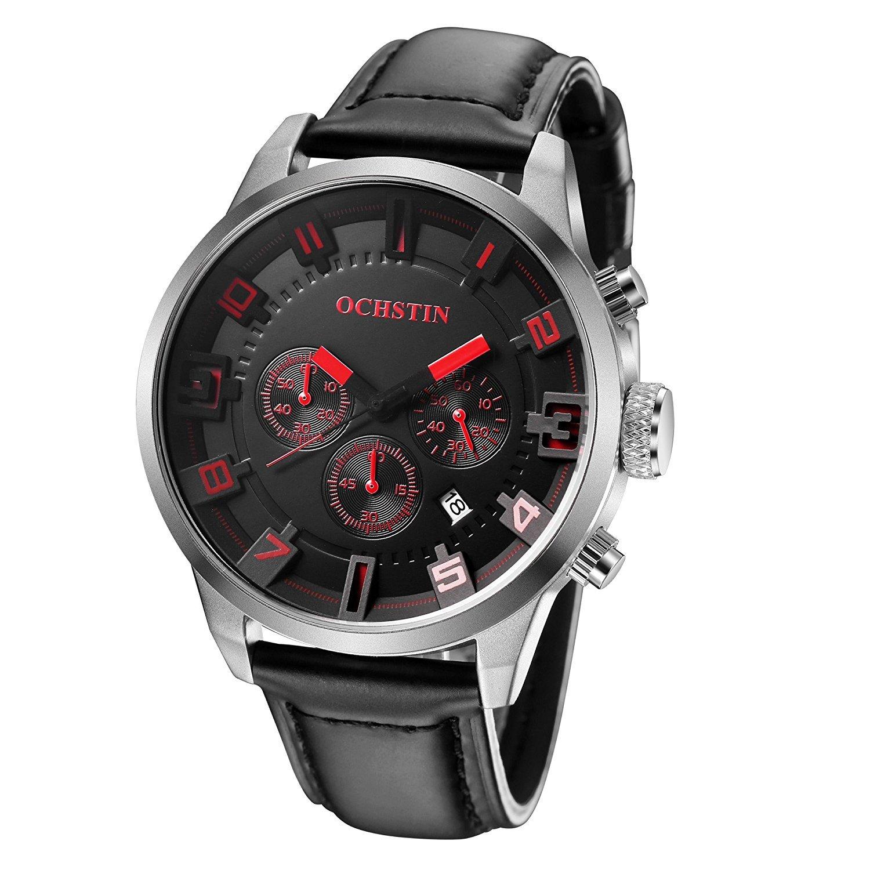 buyeonlineメンズクォーツアナログカジュアルビジネスクラシック腕時計(レッド) B06XJYVCT7