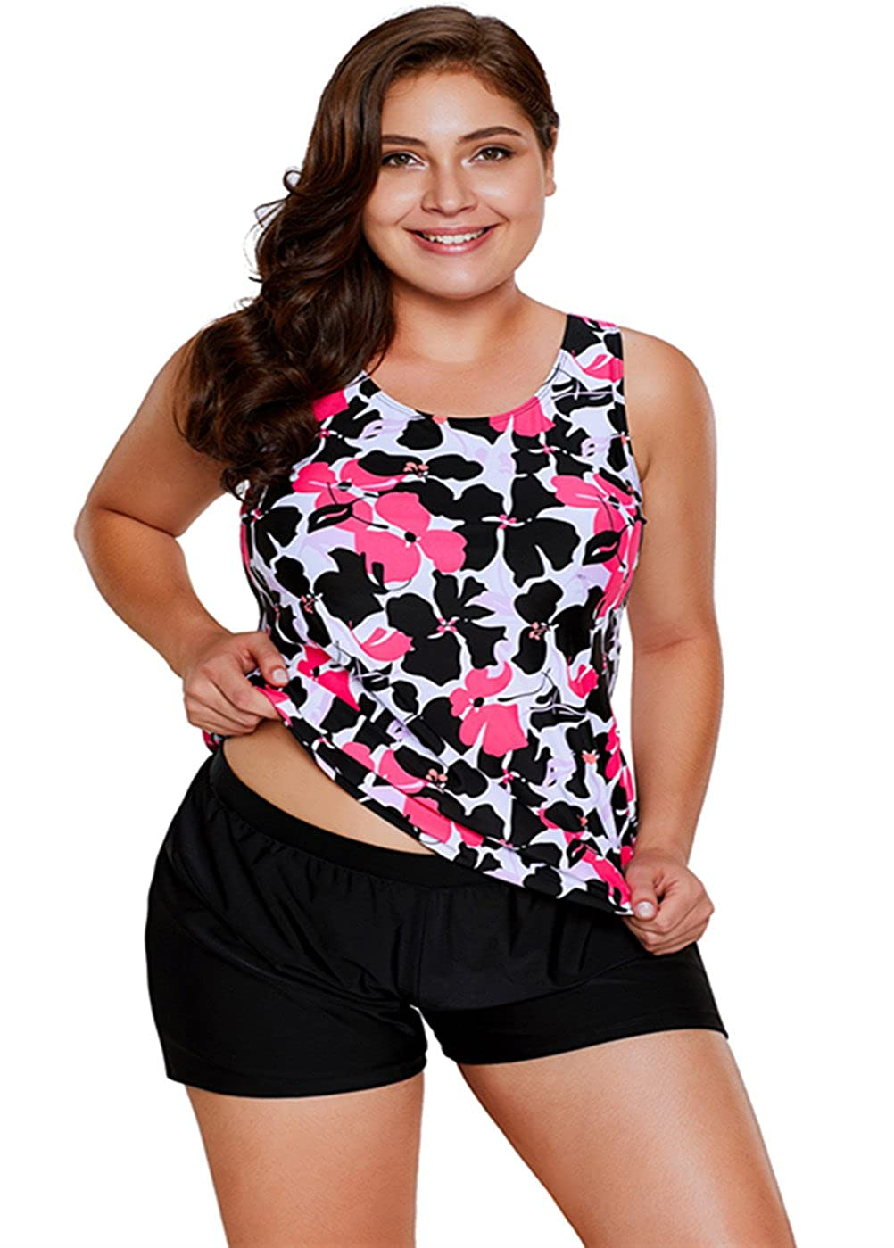 Black Tiksawon Womens Beach Floral Printed Tankini Top Set Swimsuit Swimwear