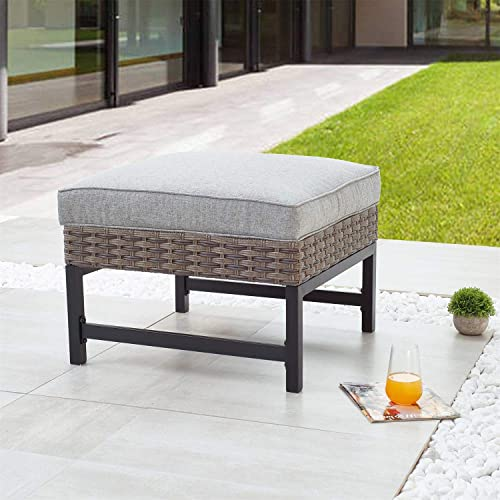 PatioFestival Patio Footstool with Cushion Rattan Furniture Outdoor Wicker Ottoman Coffee Table All Weather Foot stools Seat Brown Black