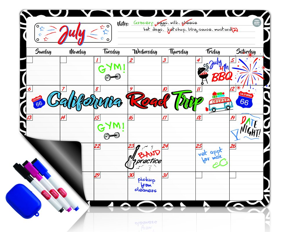 Dry Erase Calendar Magnetic Whiteboard for Refrigerator: 3 Fine Tip Dry Erase Markers and Eraser: Magnetic for Refrigerator: Back To School Organizer: Magnetic Calendar for Office quartet WhiteboardCalendar