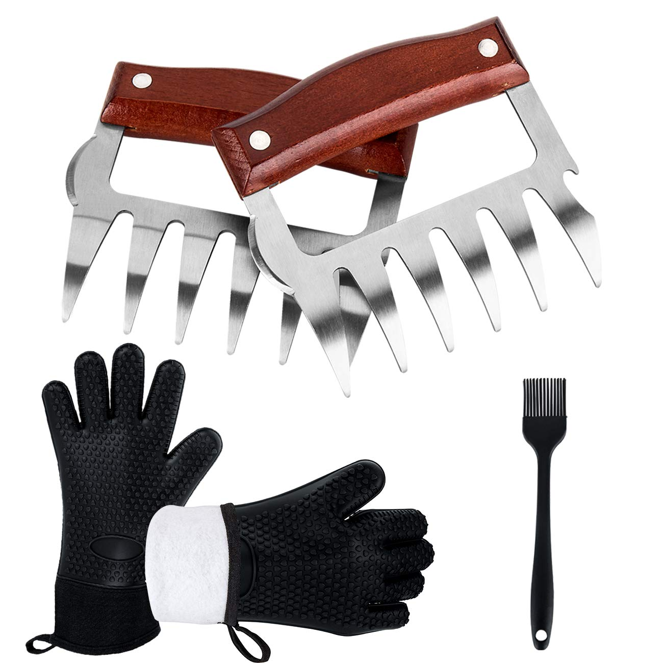 BBQ Gloves, Meat Claws, Silicone Brush, 5Parts BBQ Grill Tools Accessories Kit