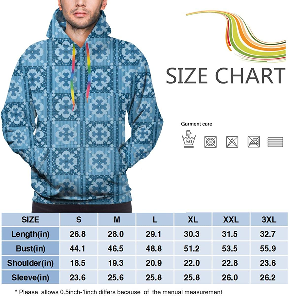 PMsunglasses Balanced Blue Floral Pattern Unisex Pullover Couple Hoodie Hooded Sweatshirt Colorful