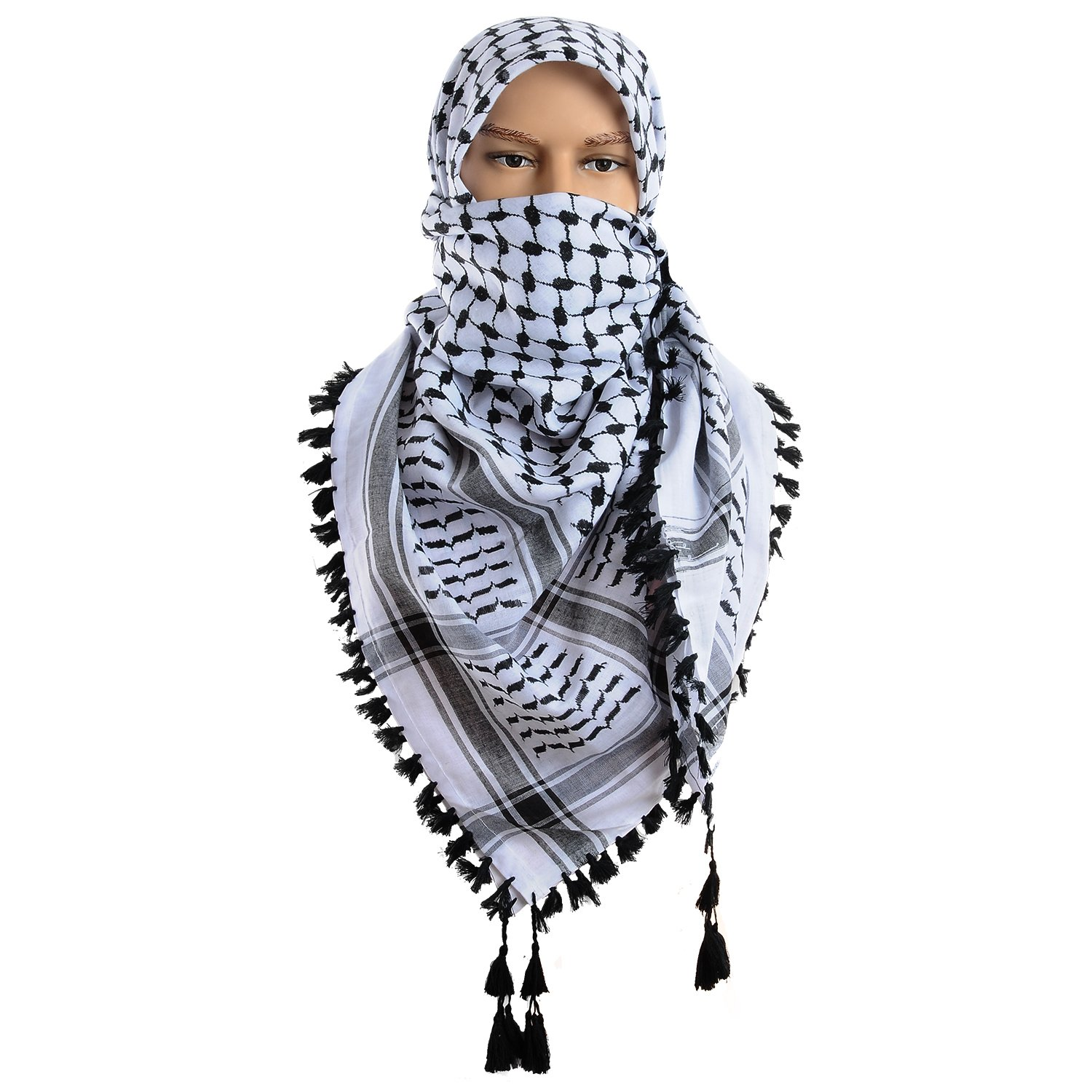 Micoop Large Size Premium Shemagh Scarf Arab Military Tactical Desert Scarf Wrap(48 by 48 inches) (White Black)