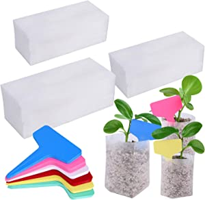TUPARKA 150Pcss Fabric Seedling Bags with 60 Plant Labels Tags, Plant Grow Bags Biodegradable Non-Woven Nursery Bags Seed Starter Bags Seedling Pots for Garden Supplies