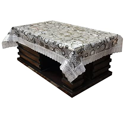 Kuber Industries PVC 4 Seater Centre Table Cover - Silver