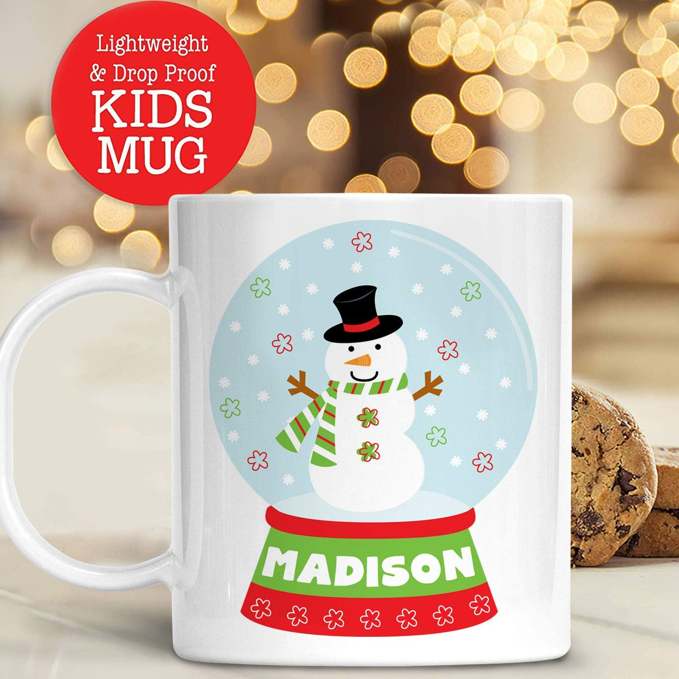 Amazon.com: Personalized Snow Globe Penguin Christmas Cup with Kids ...