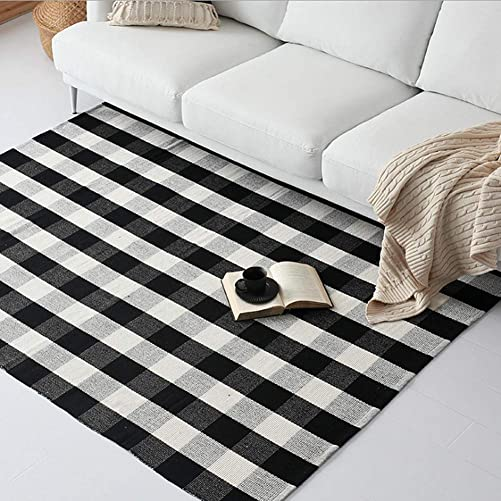 Nobildonna Black and White Plaid Rug 100 Cotton Porch Rugs 47.3 x70.8 Buffalo Checkered Hand-Woven Checkered Door Mat Washable Rag Throw Rugs for Porch Kitchen Entry Way Laundry Room Bathroom