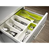 Vepson Drawer Store Plate With Cutlery Tray Dish,Green+White,3 In,Plastic