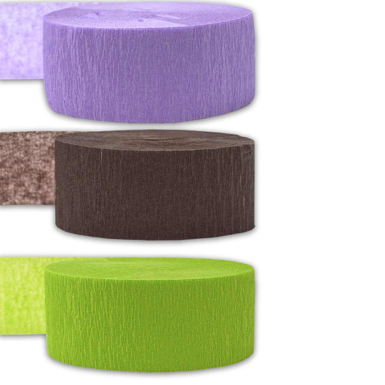 Brown 3 rolls per color, 81 foot each roll Made in USA Flame Resistant Lime Green 9 rolls 739 ft - For party Decorations and Crafts 243 per color 3 Colors Crepe Party Streamers Bleed Resistant French Violet