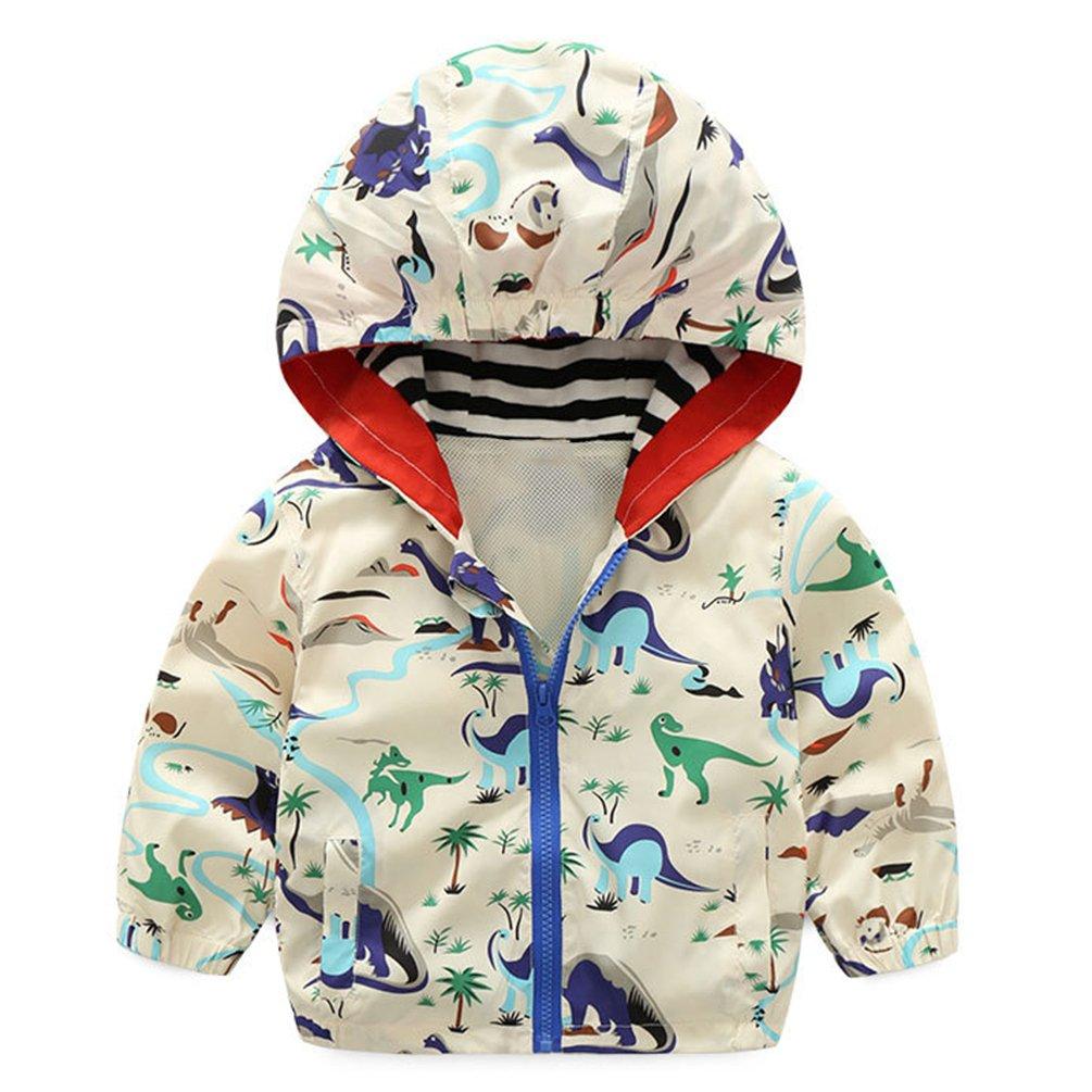 lymanchi Kids Baby Boy Casual Windbreaker Outerwear Dinosaur Printed Zipper Hooded Jackets Coat Beige Dinosaur 12M