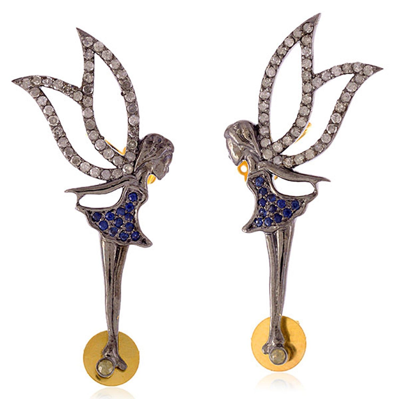 Blue Sapphire & Diamond ''Girl with Angel Wings'' Ear Climber Earrings in 18K Yellow Gold & Sterling Silver