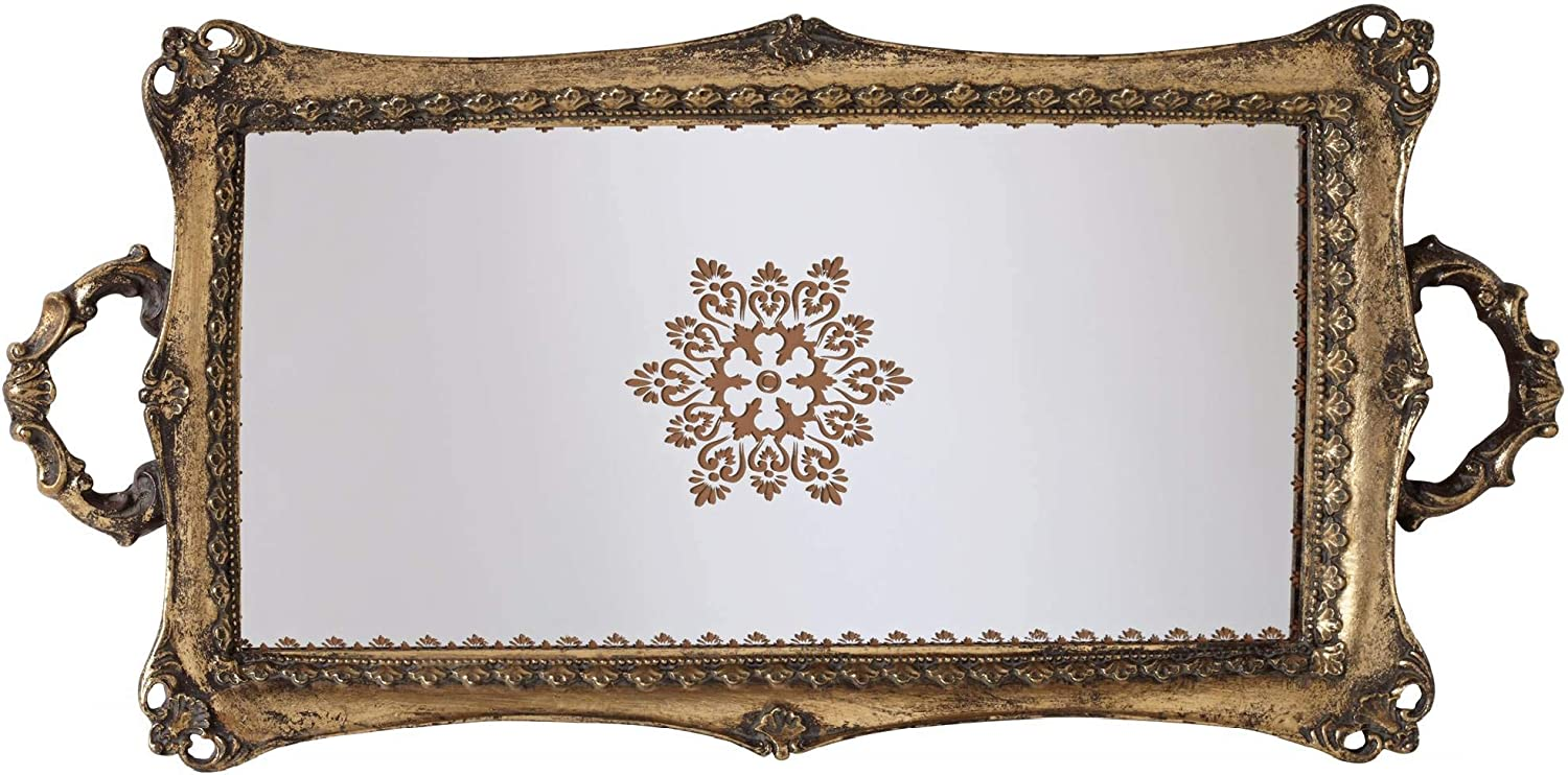 Kensington Hill Randa Antique Gold Mirrored Tray