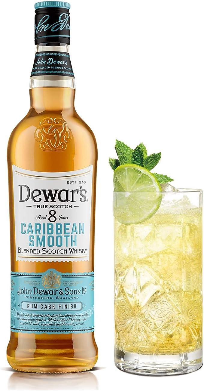 DEWARS Whisky Escocés, 8 Años Caribbean Smooth Envejecido en Barricas de Ron y ExBourbon con Notas Dulces y Tropicales, 700ml