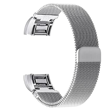 V-Moro Fitbit Charge 2 Band, Large Milanese Loop Stainless Steel Magnetic  Metal Bracelet Strap Band With Adapters 6 7-9 5 inches (Milanese Loop