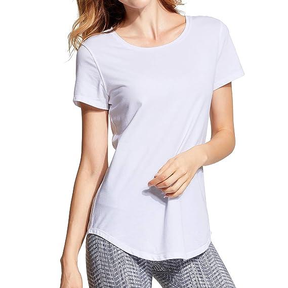 CRZ YOGA Mujer Ropa de Deportiva Camiseta de Manga Corta Algodón Pima Casual Top: Amazon.es: Ropa y accesorios