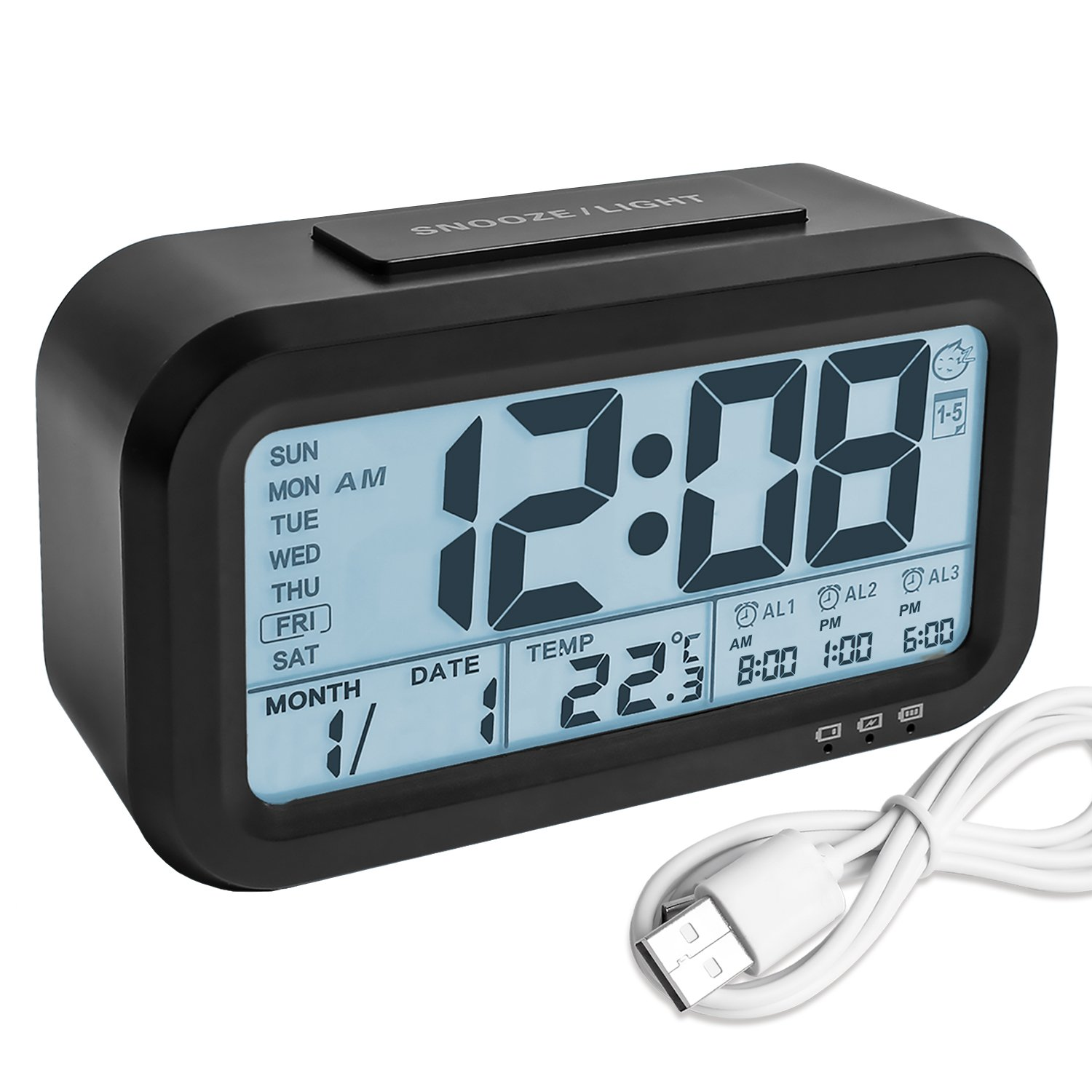 Digital Alarm Clock, Backlight LCD Morning Clock Travel Alarm Clock with 3 Alarms Thermometer Calendar Large Display Smart Nightlight Soft Light Snooze, Battery Operated with USB Charger (Black) YouCoulee CC-Alarm Clock-001