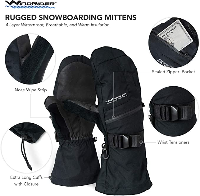WindRider Rugged Waterproof Winter Mittens