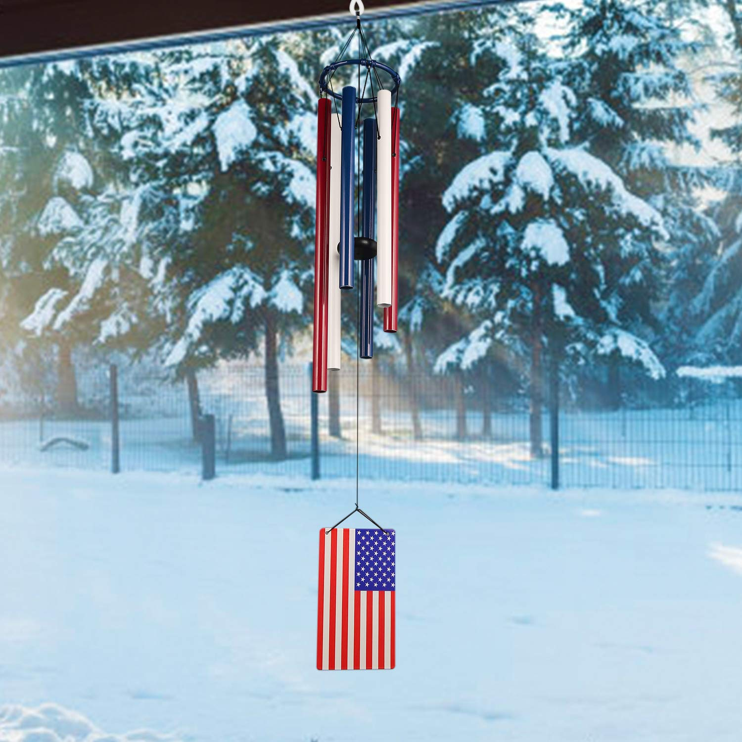 Noble House 33 Tuned Wind Chimes,Patriotic American Flag Wind Chimes July of 4th for Outdoor and Home Decor