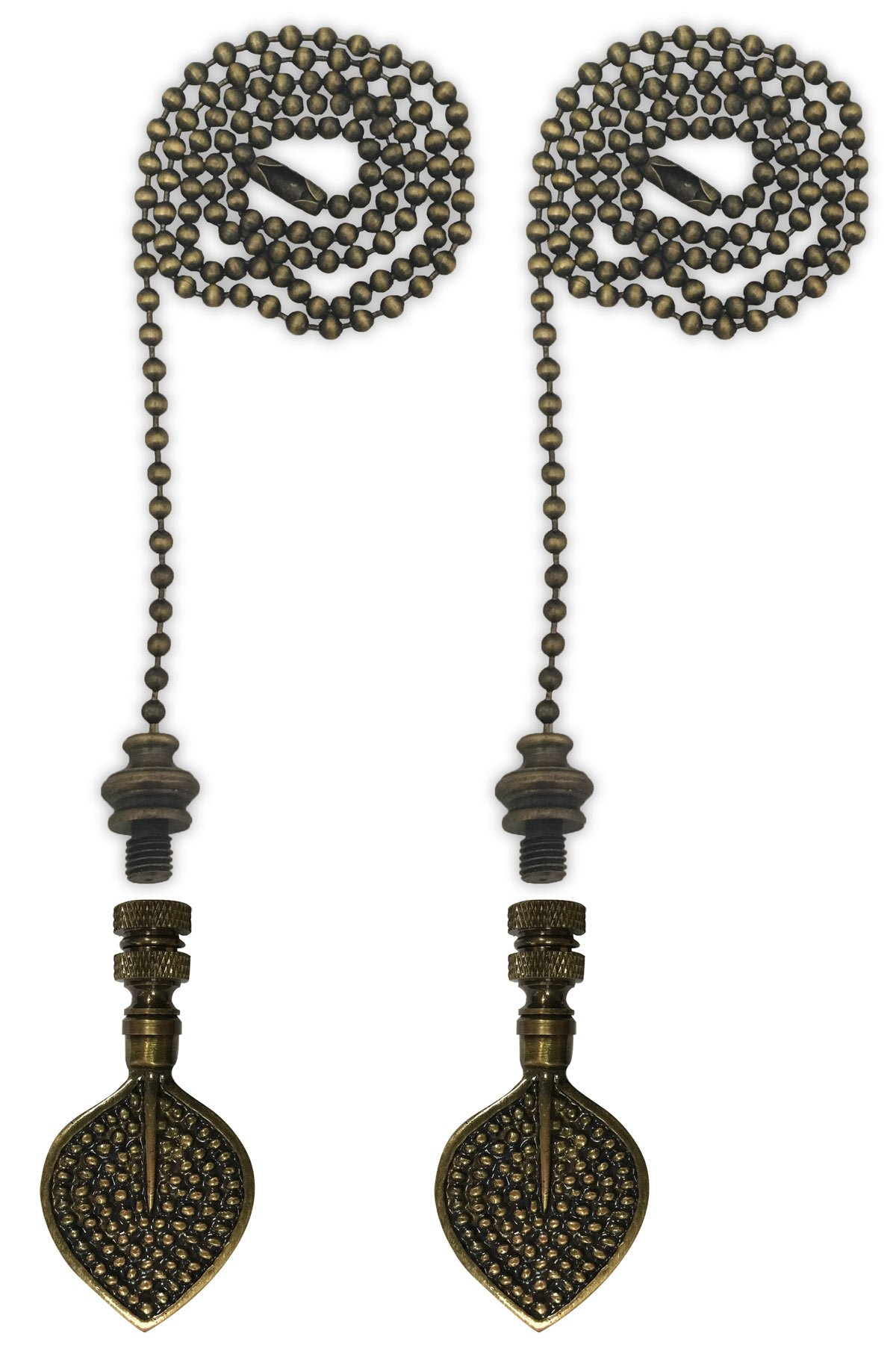 Royal Designs Fan Pull Chain with Birch Leaf Finial – Antique Brass – Set of 2 by Royal Designs, Inc