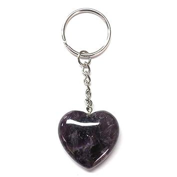 Llavero corazón amatista cuarzo 3 cm: Amazon.es: Coche y moto