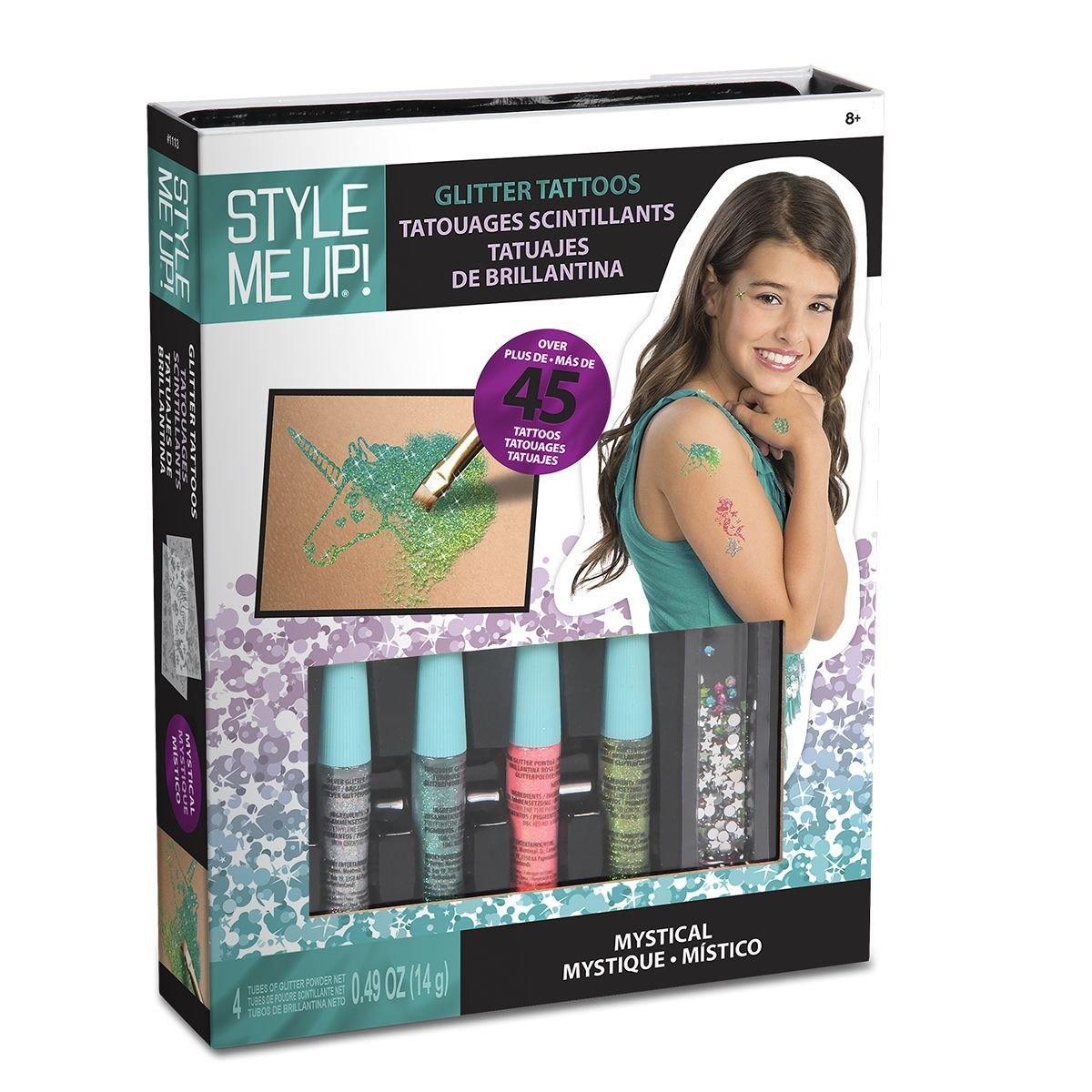 Style Me Up - Kids' Glittering Tattoo Set, Sparkling Tattoo Craft Kit for Girls and Boys, Creative Gift Idea for Birthday - SMU-1113