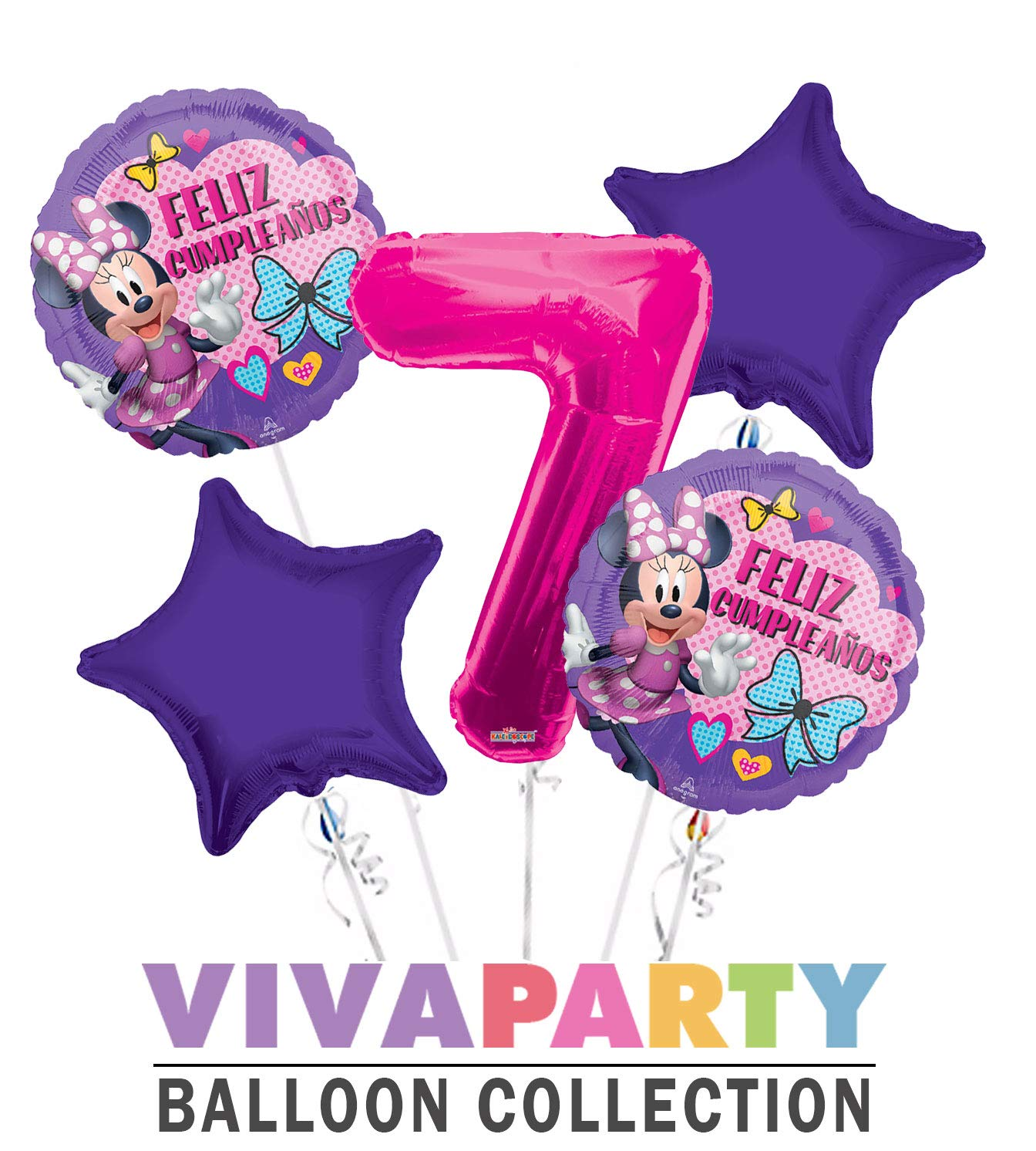 Amazon.com: Minnie Feliz Cumpleanos Balloon Bouquet 5 pc ...