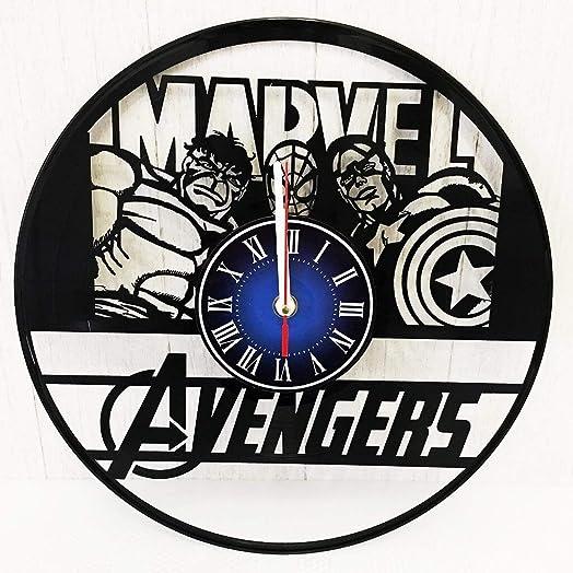 Marvel Comics 12 inches / 30 cm Vinyl Record Wall Clock   Thor   Hulk   Spider-Man   Gift