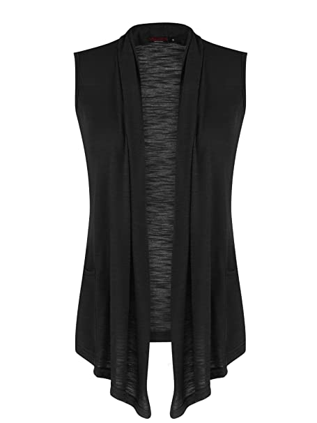 vessos chalecos de mujer sin mangas Abertura Frontal Cuello Shrug Jersey  Chaleco chaqueta de punto bc100a0a4094