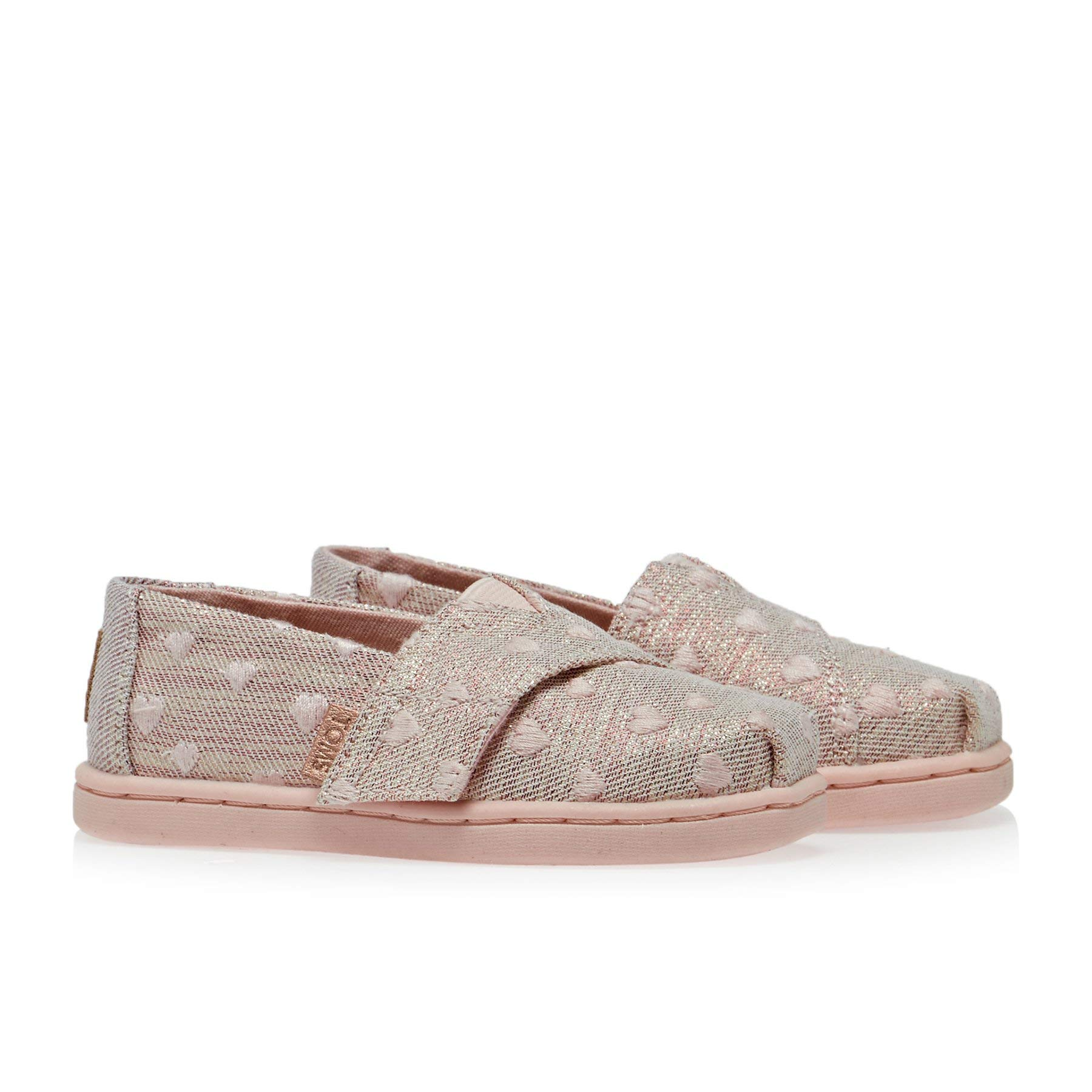 TOMS Kids Baby Girl's Alpargata (Toddler/Little Kid) Rose Cloud Heartsy Twill Glimmer Embroidery 11 M US Little Kid by TOMS Kids (Image #4)