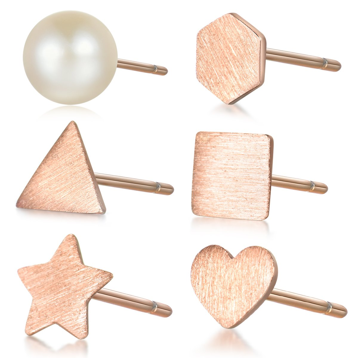 Hypoallergenic 925 Sterling Silver Tiny Stud Earrings Set for Cartilage Rose Gold Plated Women Men 6 Pcs