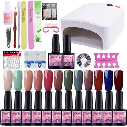 Saint-Acior 12PC Esmaltes Semipermanentes Gel Uñas 8ml 36W UV Lámpara,Secador de Uñas