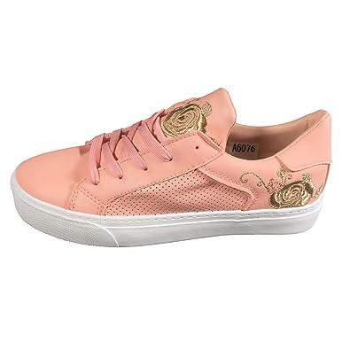 Damen Sneakers Freizeit Blumen Turnschuhe Runners Sport Schuhe A6076 (40, Space-Metallic) Schuhtraum