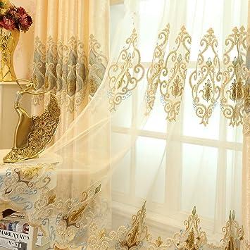 2er Set Europäische Goldene Luxuxjacquard Vorhänge Für Schlafzimmer  Wohnzimmer (Tüllvorhang, 245*