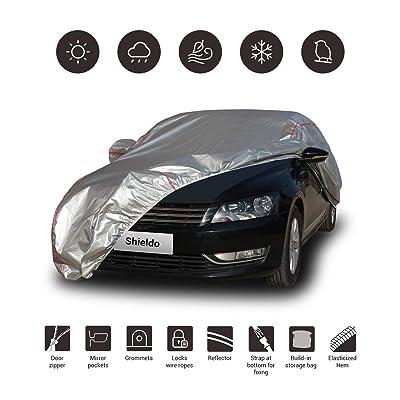 "Shieldo Deluxe Car Cover with Build-in Storage Bag Door Zipper Windproof Straps and Buckles 100% Waterproof All Season Weather-Proof Fit 191""-200"" Length Sedan: Automotive"