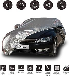 "Shieldo Deluxe Car Cover with Build-in Storage Bag Door Zipper Windproof Straps and Buckles 100% Waterproof All Season Weather-Proof Fit 201""-218"" Length Sedan"