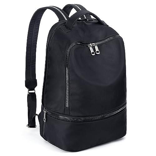 68a3d257566 UTO Fashion Nylon Backpack Functional School Gym Sport Hiking Bag Reflective  Straps Black CA