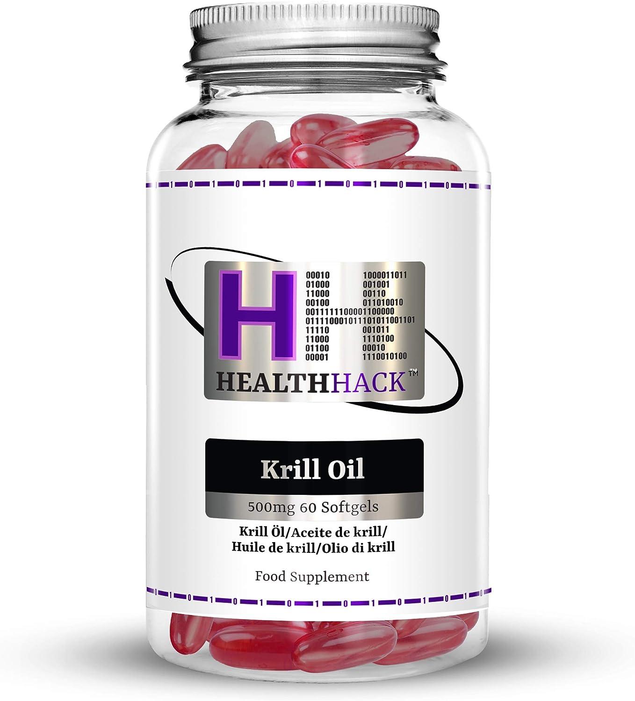 Health Hack - Aceite de krill, 500 mg, 60 cápsulas blandas