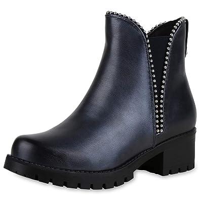 newest collection deab0 4f0da SCARPE VITA Damen Stiefeletten Chelsea Boots mit Blockabsatz ...